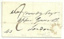 * 1825 WILTSHIRE WRAPPER SWINDON REVERSED HORSESHOE POSTMARK TO CROWDY IN LONDON