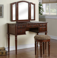 Cherry Wood Tri-Fold Vanity Makeup Mirror Table Set Dresser Drawer Bench Bedroom