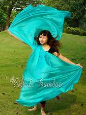 "peacock green 3yd*45"" belly dance silk veil+bag, light paj silk, edges rolled"