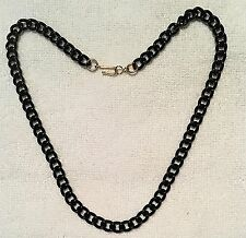 VINTAGE BLACK ENAMELED CHAINS 16 INCH WITH HOOK CLASP 5 PCS