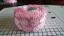 2m -Pink, Daisy Flower Motif - Applique,Trimmings,Wedding -  Satin Lace Ribbon