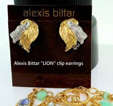 Alexis Bittar Maldivian Elements Swarovski Crystals Lion NEW Clip Earrings Pouch