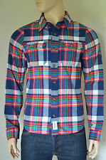 NEW Abercrombie & Fitch Railroad Notch Flannel Shirt Navy Blue & Red Plaid XL