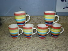 "6 Mainstays Sonoma Stripes Mugs Cups Multi Colored 4"" Tall x 3 3/8"""