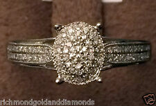 10k White Gold Flower Oval Vintage Cathedral Style Pave Diamonds Engagement Ring