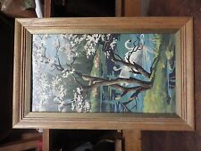 VINTAGE FRAMED PAINT BY NUMBER SWAN LAKE  ART PAINTING EXCELLENT ARTS & CRAFTS