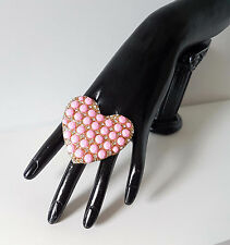 Beautiful  HUGE pink & diamante - crystal heart shape cocktail - fashion ring