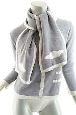 LA FEE PARISIENNE Gray 100% Cashmere Faux Cardigan Sweater+Scarf Duo - FAB -Sz 2