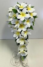 1X TEARDROP FLOWER LATEX REAL TOUCH WHITE YELLOW FRANGIPANI WEDDING BOUQUET