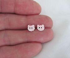 Sterling Silver 7mm delicate pink kitty women girl post stud earrings.