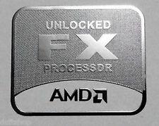 AMD Unlocked FX Silver Chrome Sticker 25 x 30mm Bulldozer Case Badge