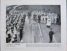 1915 WW1 PRINT ~ CHURCH ABOARD H.M.S NEPTUNE PRAYERS NAVY