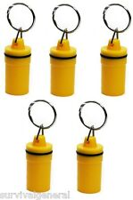 (5) Mini Waterproof Plastic Container Storage Pill Medical ID Holder Keychain
