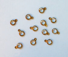 TINY CRYSTAL GLASS PENDANT BEAD DOLL JEWELRY CLEAR 1 HOLE CHANNEL SET 17ss 4mm
