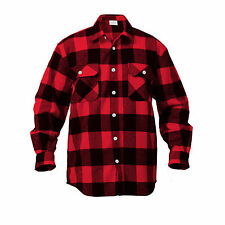 mens red brawny buffalo plaid flannel shirt long sleeve heavyweight rothco 4739