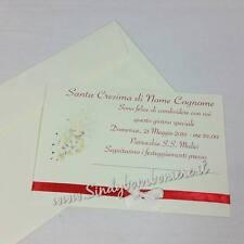 INVITI PER Santa Cresima bigliettino invito con busta GRAFICA in Omaggio Nastro