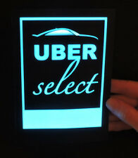 Illuminated glowing blue EL sign for UberSELECT