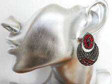 Beautiful Art Deco Design Dangle Drop Earrings with Red Diamante Crystals
