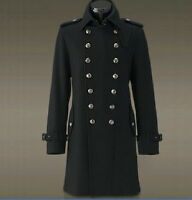 Men's Retro Double Breasted Trench Overcoat Jacket Wool Outerwear Military Black