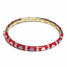 Red Enamel Multi Color Flowers Gold Plated Kids Teens Women Bangle Bracelet 57mm