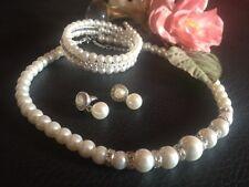 Perlen-Schmuck Set Hochzeitsschmuck Kette Armband Ohrringe mit Strass elegant