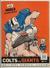 1959 Baltimore Colts-Giants NFL Championship Program Colts Repeat as Champs EX!!