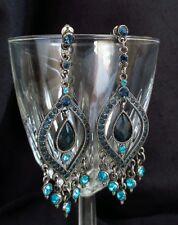 #Vintage #earrings blue #rhinestone Chandelier silver tone dangle pierced