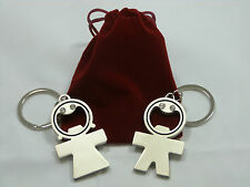 His and Her luxury Metal Bottle Opener Keyrings Gift Set - Silver Colour Nickel