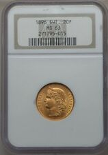 SWITZERLAND REPUBLIC 1896-B  20 FRANCS GOLD COIN UNCIRCULATED CERTIFIED NGC MS63