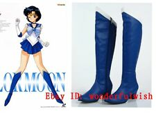 Anime Sailor Moon Sailor Mercury Blue Cosplay shoes boots Custome Customized W-2