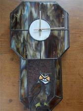 Vintage Handmade Marbled Leaded Stained Glass Wall Clock with GREAT HORNED OWL