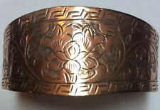 Hand Engraved Tibetan Lotus Design Copper Bracelet Cuff From the Himalayas!