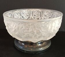 """Vintage 6"""" Frosted Crystal Rose Pattern Compote On WA Silverplate Base Signed"""