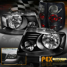 2004-2008 Ford F150 F-150 Black Clear Headlights + Smoke Euro Tail Lights Combo