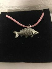 Common Carp PP-F11 English Pewter Emblem on a Pink Cord Necklace Handmade