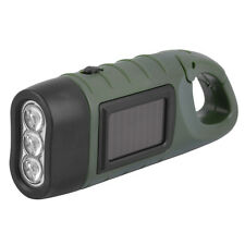 Hand Held Crank Dynamo Solar Power Rechargeable LED Flashlight 3-LED MC