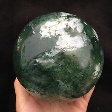 A427  Green Moss Agate Crystal Sphere Gemstone Ball 1751g