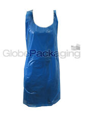 "600 x STRONG DISPOSABLE BLUE KITCHEN APRONS 27x42"", 20mu"