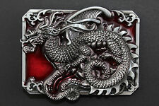 RECTANGULAR RED CHINESE DRAGON BELT BUCKLE METAL CALENDAR TRADITIONAL FANTASY