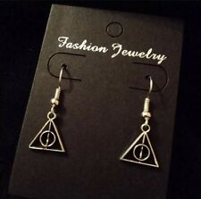 Small Harry Potter Deathly Hallows Earrings Silver Symbol Unusual Statement *UK*