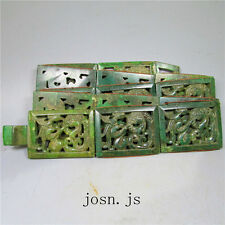 Chinese Natural Ancient old jade hand-carved no pendant belt dragon Hollow out