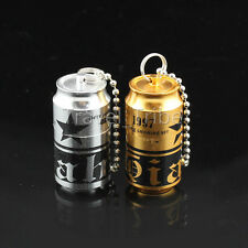 EDC Novelty Beer Mini Gear Fire Flint Kerosene Cigarette Smoke Lighter Keyring