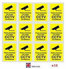 12 CCTV In Operation Warning Stickers Safety Security Camera Adhesive Signs PACK
