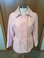 J174 NWT New York & Company Womens M Pink Wool Blend Double-Breasted Pea Coat