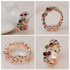 Women Lady Fashion Style Cute Lovely Round Multicolor Ring Love Elegant Flower