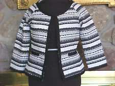 Womens Jacket Size 10 Bob Mackie Studio Black & White Stripe Crop Ribbon Trim