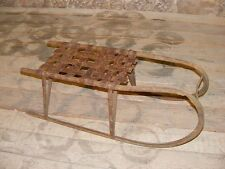 Beautiful age Children's Metal Sled Toboggan ANTIQUE TOP DECORATION