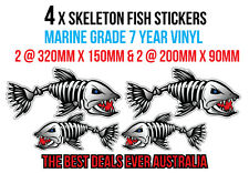 4 x LARGE skeleton fish stickers FOR CARS, UTES 2 320mm x 150mm &  200mm x 90mm