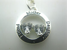 """ESTATE JEWELRY 925 SILVER FOOTNOTES MOTHER DAUGHTER FRIEND HEARTS NECKLACE 18"""""""