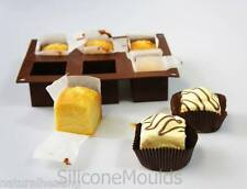 6 cell SQUARE CUBE Fondant Fancies Cake Silicone Bakeware Mould Mold Chocolate
